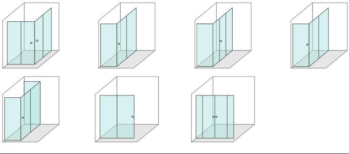 configuration Semi-Frameless Sliding Shower Screen